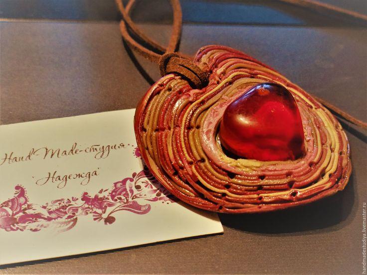 Купить Кулон Сердечный - рыжий, кулон, украшения ручной работы, украшение, украшение на шею, Бижутерия