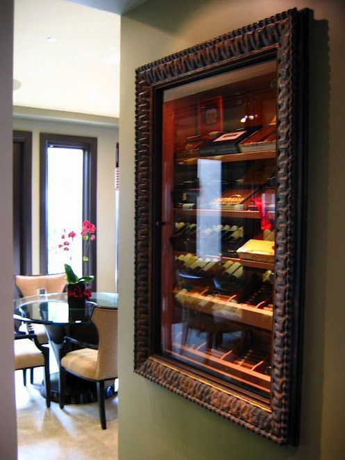 Ideas on custom in the wall cigar humidors. Build your own cigar humidor that goes into the wall.