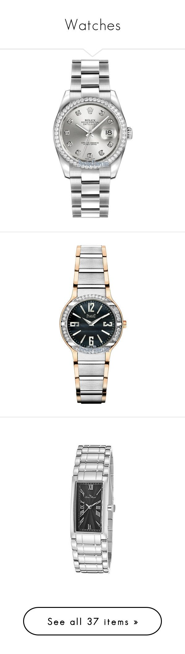 """""""Watches"""" by miriam83 ❤ liked on Polyvore featuring jewelry, watches, stainless steel, silver watches, silver jewellery, polish jewelry, silver wrist watch, rolex, quartz jewelry and piaget"""