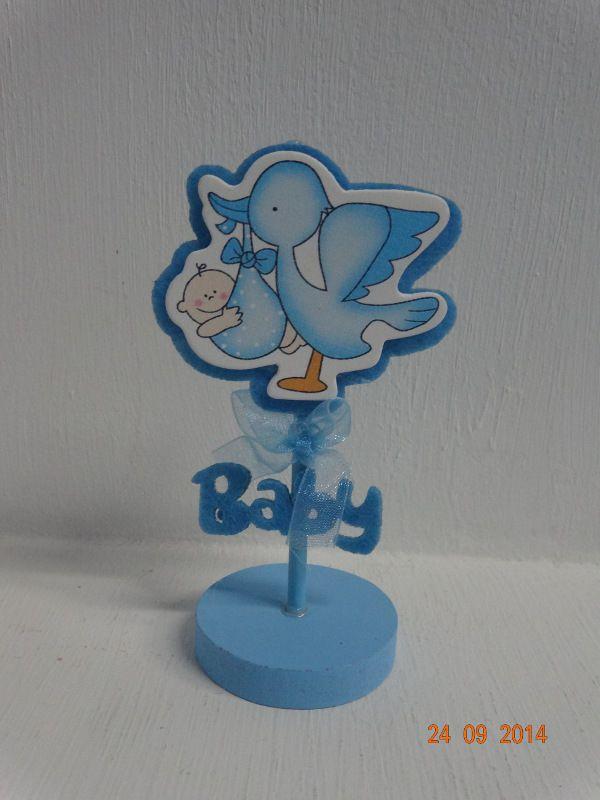 Porta tarjeta de cigüeña para Baby Shower de Niño. #RecordatoriosParaBabyShower #DecoracionesBbayShowerNino