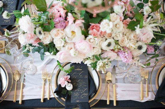 Romantic blush & black wedding inspiration