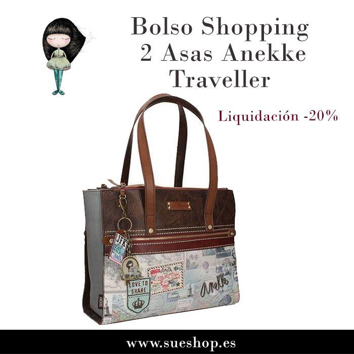 """Sigue aprovechándote de nuestros artículos en liquidación y consigue el Bolso Shopping 2 Asas Anekke de la colección """"Traveller"""", ahora por tan solo 36,72€!! @sueshop_es #anekke #traveller #bolso #shopping #complementos #muñecas #sueshop"""
