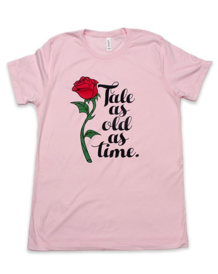 Enchanted Rose, Tale as Old as Time Crew Neck Tee, Pink | The Main Street Press