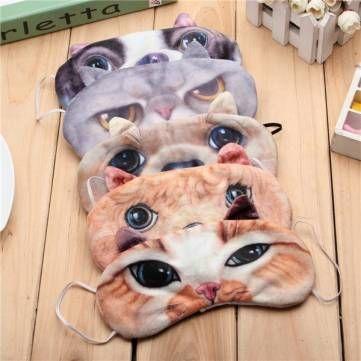 Cão gato máscara de raposa olho 3d com saco de gelo de viagens dormindo venda winker eyepatch na Banggood