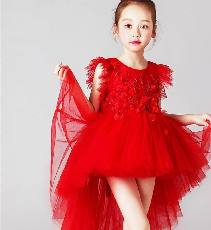 High Low Dress--Made To Order - High Quality Beautiful Embroidered Floral Applique Lace Tassel Sleeve Little Girl High Low Gown -Available from 2 until 12 years old - Material: Cotton, soft polyester fiber, tulle mesh -  Color: Red - Please do compare your  little girl measurements with our size chart below before deciding her size. #flowergirldresses #littlegirlbirthdaydress #weddingideas #kidsfashion #highlowgown