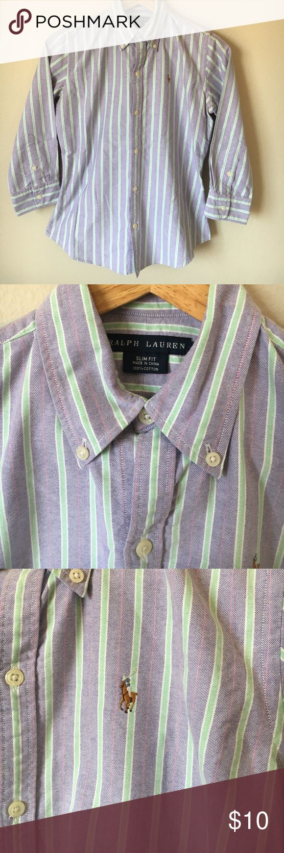 Boys Ralph Lauren Slim Fit Button Down Sz 4 Gently used no stains or holes great Slim Fit shirt to make your little man look sharp. Will fit 8 yr Ralph Lauren Shirts & Tops Button Down Shirts