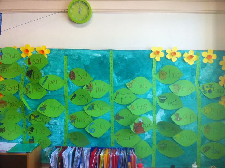 CVC words family on five beanstalks (link with Jack and the beanstalk) including word and picture on each leaf (done by the pupils)