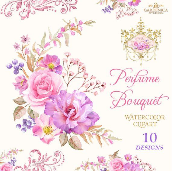 Roses Bouquet Clipart Watercolor Roses Clipart Pink And Etsy Estampas