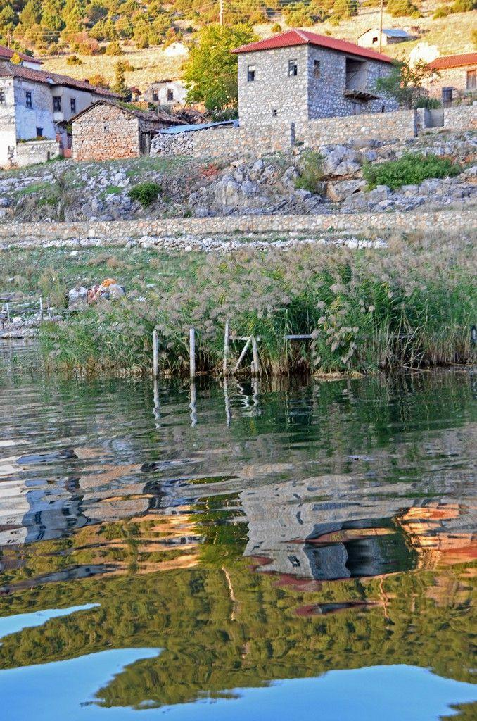 Morning reflections at Psarades village, Lake Prespa