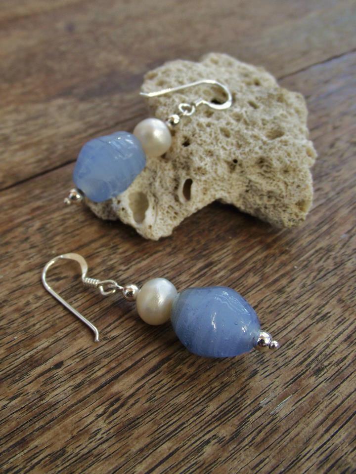 Blue Glass & Freshwater Pearl   Sterling Silver Earrings:  http://www.facebook.com/ZadiaDesigns