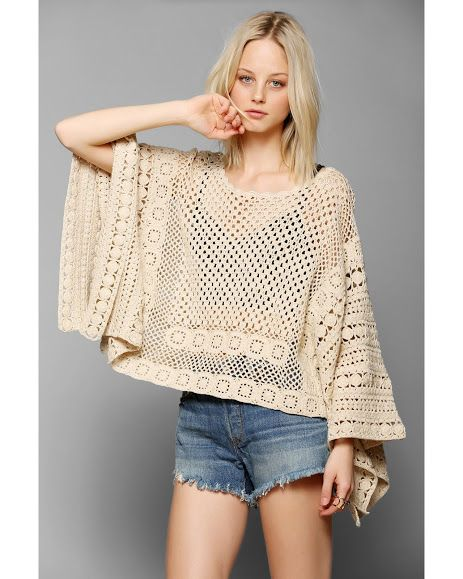 Poncho de ganchillo   -   Crochet poncho http://outstandingcrochet.blogspot.com/search/label/Crochet Poncho