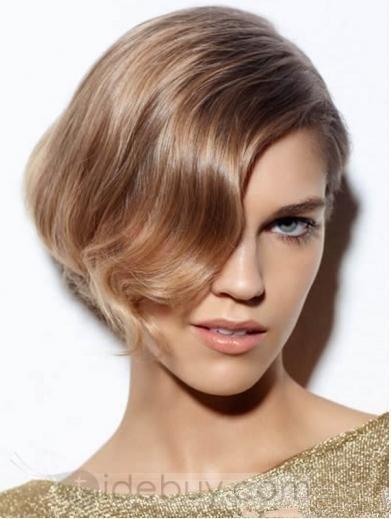 最新のエレガントチャーミング100%人毛ショートストレートストロベリーブロンドレースウィッグウェーブ前髪付き