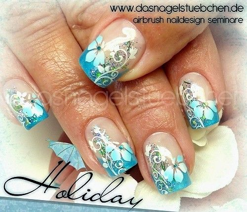 Airbrush Nailart kombiniert mit Stamping