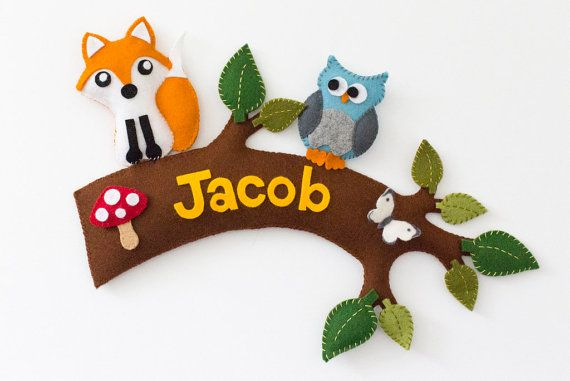 Personalized name sign woodland nursery from Babes in the Woods. Available to buy on Etsy.com