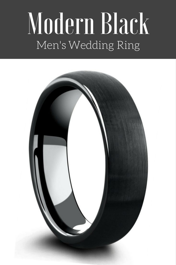 This is the perfect all black tungsten wedding ring with a modern brushed top and a high polish interior. I have been looking for a black mens wedding ring in a 6mm width  and finally found the one!
