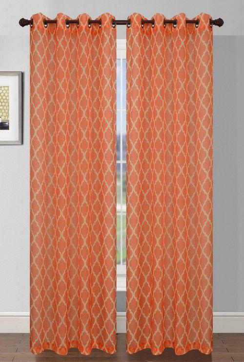 Orange Quatrafoil Printed Sheer Curtain Panel