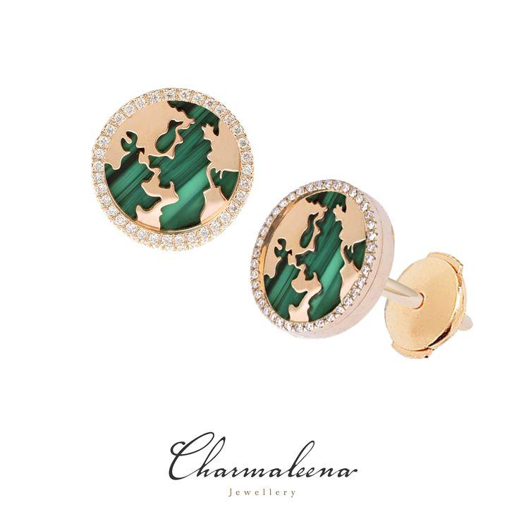 My World Earrings – Malachite Framed in Diamonds in Yellow Gold.. #world  #diamond #earring   #jewellery  #mycharmaleena #charmaleena #finejewellery  #yellowGold   #jeddah #riyadh #ksa #saudi #saudiarabia #Dubai #online #جدة  #السعودية  #دبي #الرياض