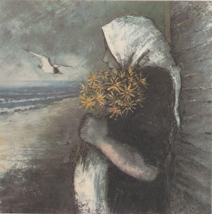 Mario Lupo, L'attesa, 1973, olio su tela, 70 x 70 cm, Ascoli Piceno