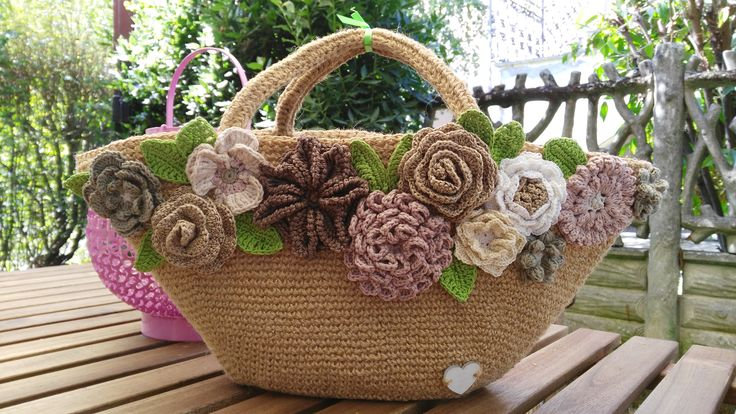 """Summer"" the bag in yuta and the crochet's flowers"