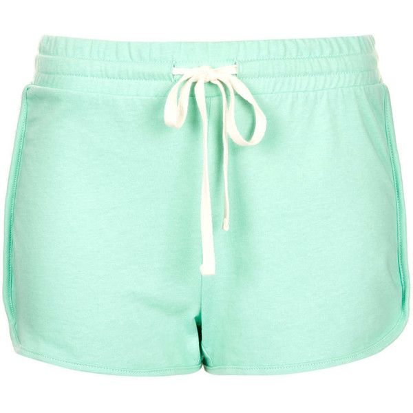 TOPSHOP Side Panel Runner Short (285 UYU) ❤ liked on Polyvore featuring shorts, short, topshop, pants, mint, short shorts, cotton drawstring shorts, draw string shorts, mint green shorts and mint shorts