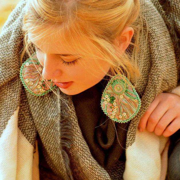 Dangle Earrings – Shibori ribbon earrings – a unique product by Tamarchi on DaWanda