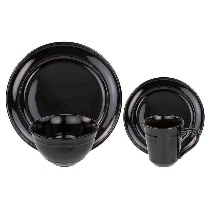 16-Piece Stoneware Dinnerware Set in Black