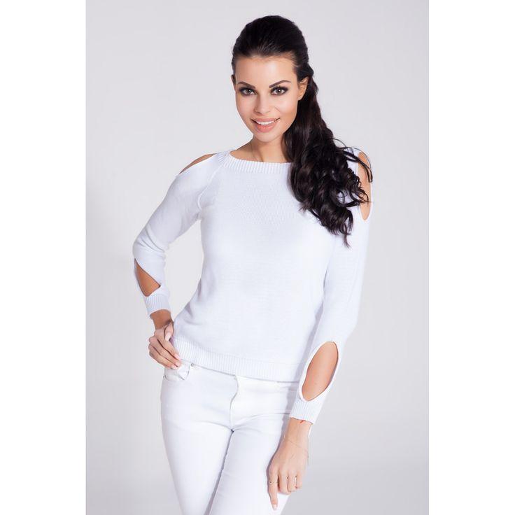 Bluza casual alba de dama cu decupaje decorative Fobya  #bluzetricotatedama