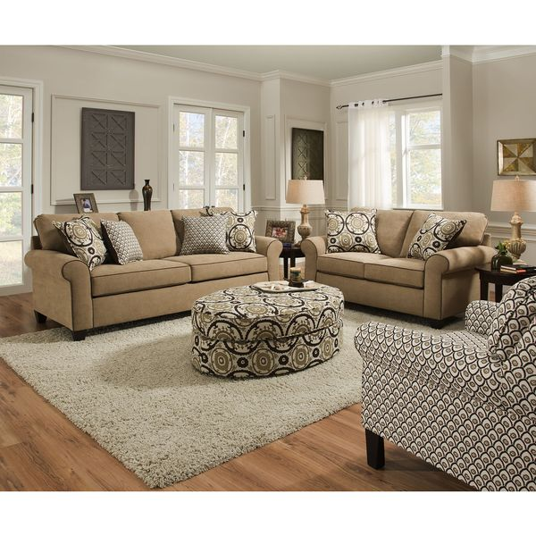 Simmons upholstery beachfront froth loveseat home decor - Simmons living room furniture sets ...