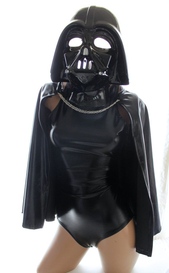 Sugarpuss Sexy Darth Vader Costume Set: Racer Croptop, High-waist Briefs, and Chain Cape