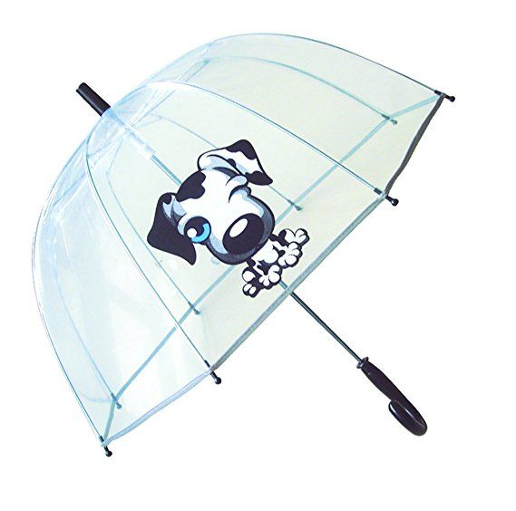 SMATI Kids'Umbrella dome transparent - The first umbrella has reflective stripe - extra safty to children in the darkness (Black Dog)