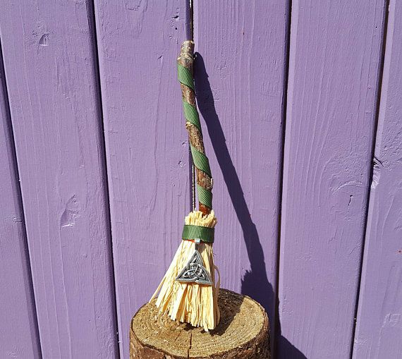 Green Triquetra Besom Miniature Broomstick Witch Charm