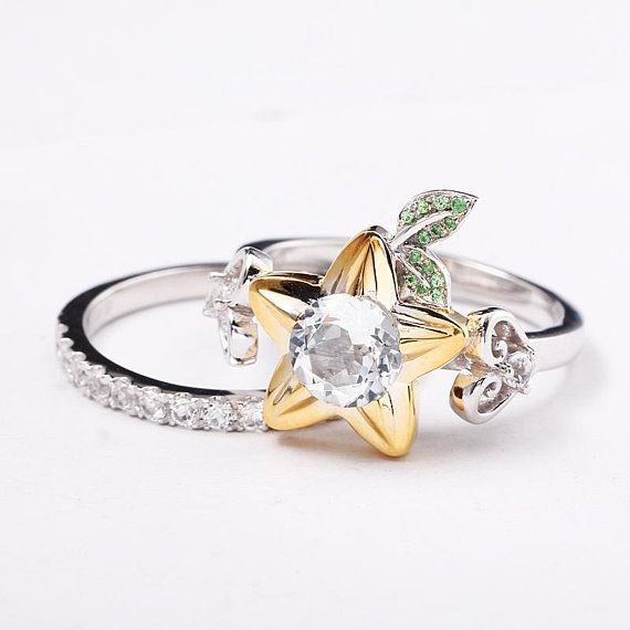 Star Fruit And Hearts Engagement Ring Promise Ring Wedding Ring Cosplay Jewelry Nerdy Geek Video Game Keyblade Star Heart Engagement Rings Kingdom Hearts Ring Gold Diamond Wedding Band