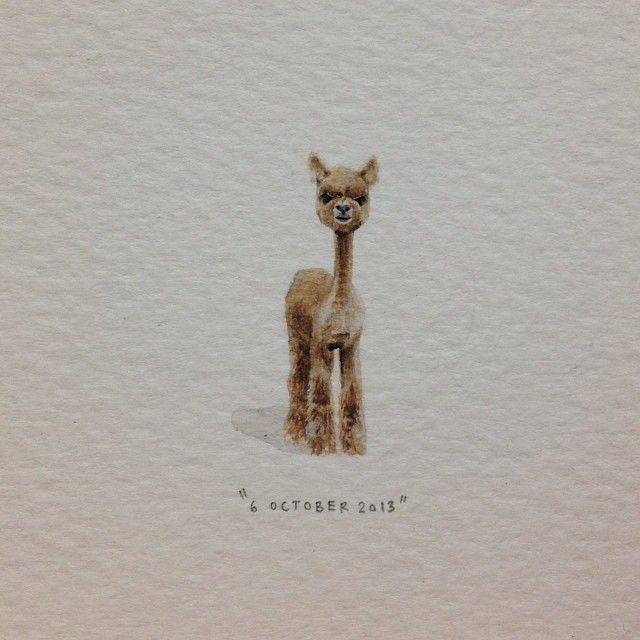 Day 278 : @markiede says I look like a shaved alpaca. 8 x 29 mm. #365paintingsforants #miniature #watercolor #shaved #alpaca