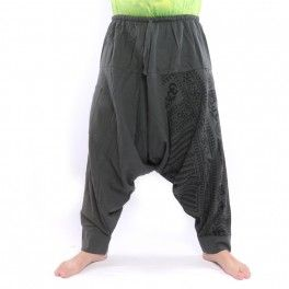 Aladdin Pants with Om / Floral Design Print – Anthracite