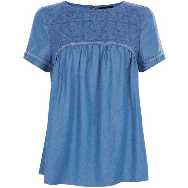 Blue Embroidered Panel Denim Smock T-Shirt (1,145 THB) ❤ liked on Polyvore featuring tops, t-shirts, embroidery t shirts, embroidered t shirts, denim t shirt, blue top and blue t shirt