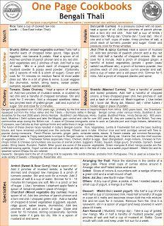 One Page Cookbooks: Bengali Thali - From Indian Veg Thali Cookbook