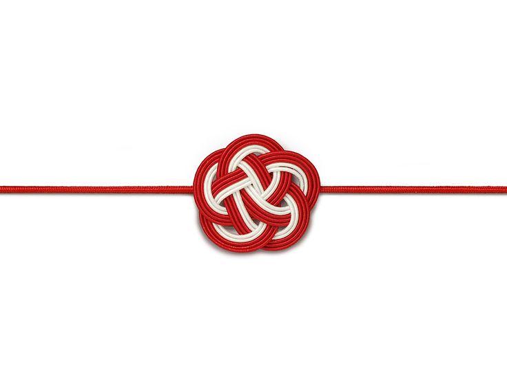 水引飾りゴム 梅むすび 紅白12cm【包】画像