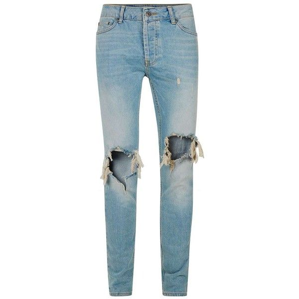 TOPMAN Light Wash Blue Extreme Ripped Stretch Skinny Jeans ($54) via Polyvore featuring men's fashion, men's clothing, men's jeans, blue, mens skinny jeans, mens light wash skinny jeans, mens ripped jeans, mens skinny fit jeans and mens distressed jeans