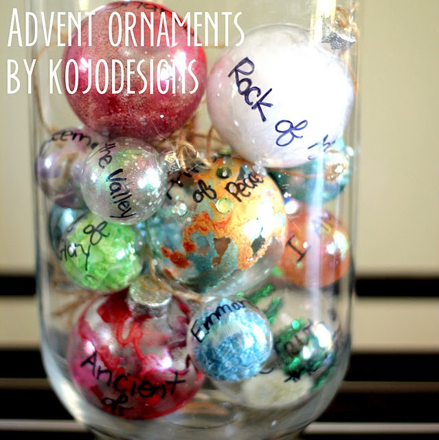 Advent Ornaments - Very Special (& Genius)!  Thanks Kojo Designs. I just love this idea.  It's a great way to remind our little ones what Christmas is really all about.  Display the balls as pictured above and on each day add it to your Christmas tree.  In our home, they will go on my daughter's individual tree in her room.  Merry Christmas!