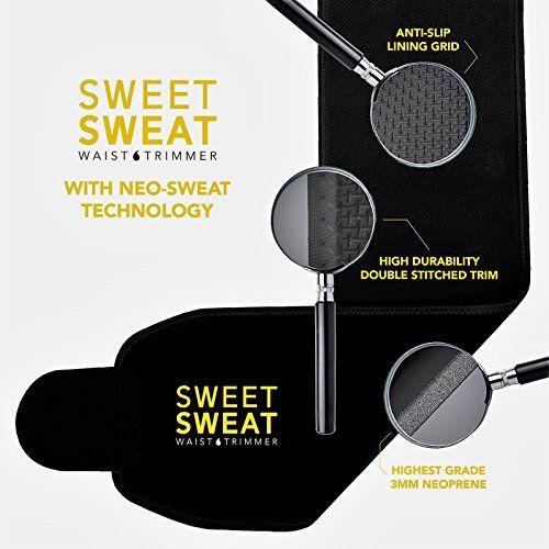 Sweet Sweat Premium Waist Trimmer for Men & Women. Includes Free Sample of Sweet Sweat Workout Enhancer! (Yellow Logo, Medium: 8