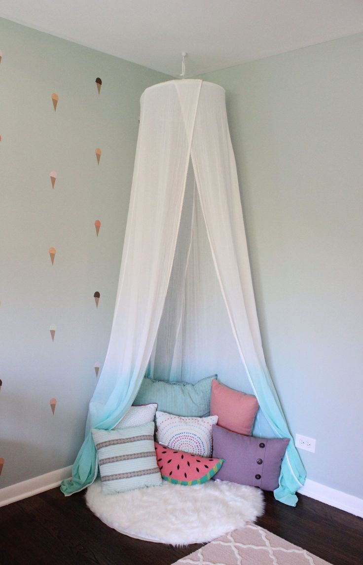Girls Room Reading Nook With White And Teal Canopy And