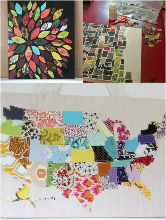 Great ways to utilize fabric scraps. Wall art, key fobs, wreaths, and garland. that map would be such a cool thing to do if you got the piece of fabric used from each respective state