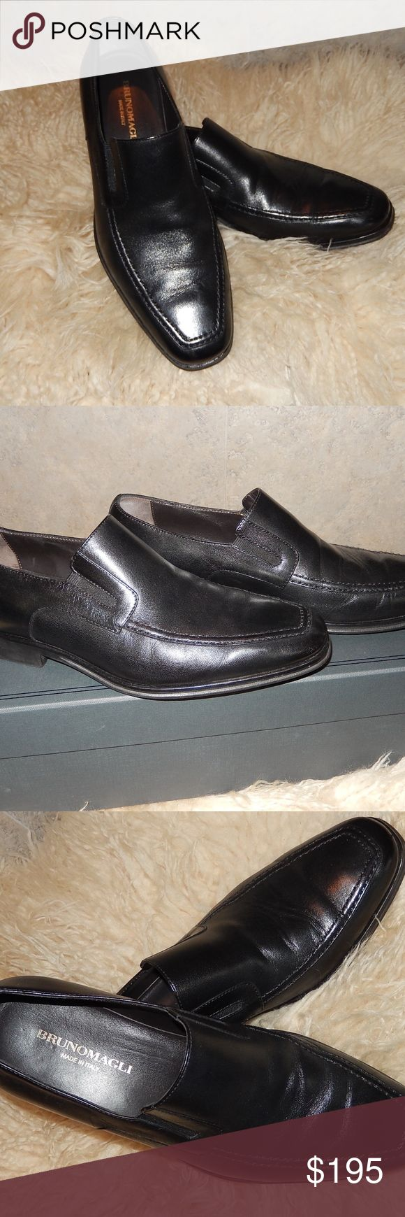 Brunomagli Black leather loafers-RAGING-sz 8.5 Gorgeous pair of Brunomagli mens loafers made in Italy   One scuff on left toe.  see photos for best description! You will love these and just in time for the Holidays!!!  *box not included Bruno Magli Shoes Loafers & Slip-Ons