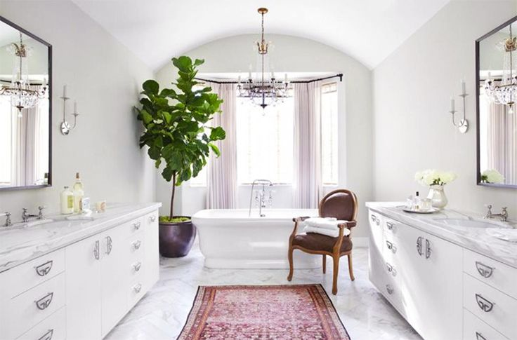 Rugs 101: Your Ultimate Guide to Rug Shopping // pink Persian rug, marble countertops, marble floors, white bathtub, chandelierBathroom Design, Beverly Hills, Fiddleleaf, White Bathroom, Indoor Trees, Figs Trees, Master Bathroom, Fiddle Leaf Figs, Betsy Burnham