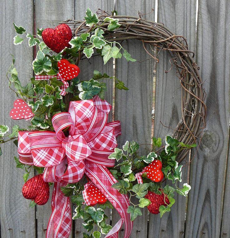 Valentines Wreath  Gingham Valentines Day Wreath by HornsHandmade, $58.00