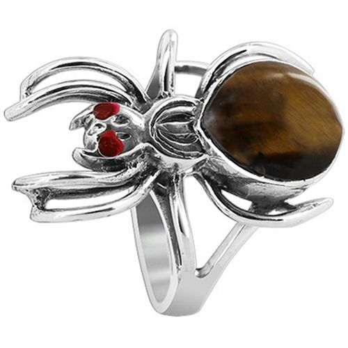 925 Sterling Silver Widow Spider with Tiger eye Gemstone 2mm Ring #EMRS043