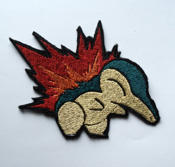 Cyndaquil  Iron on patch  Shiny Metallic by Critstitch on Etsy