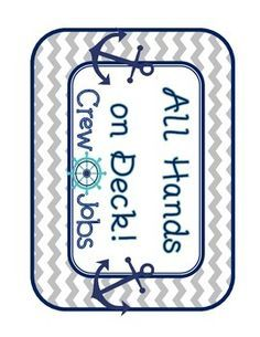 This is soooo cute! Nautical preppy classroom jobs! Navy Turquoise and grey