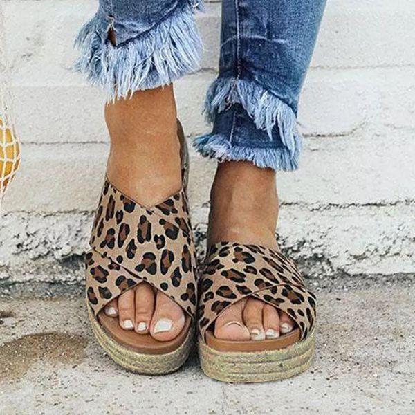 Women Espadrille Flat Platform Peep Toe Sandals Slip On Slider Casual Shoes Size