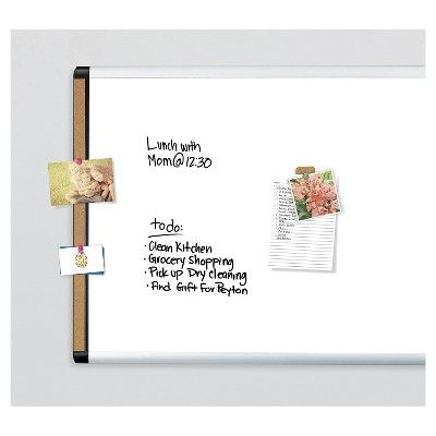 U Brands Pin-It Magnetic Dry Erase Board, 35 x 23 - Black/Gray and Cork Frame, White/Gray/Black